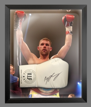 Billy Joe Saunders Signed White Vip Boxing Glove Presented In A Dome Frame:A