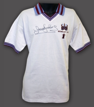 *New* Trevor Brooking Hand Signed West ham United1980 Replica Football Shirt