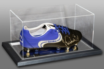 Ian Wright Signed Sondico Football Boot Presented In An Acrylic Case