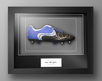 Ian Wright Signed Sondico Football Boot In Our Elegance Box Frame