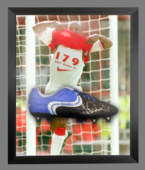 Ian Wright Signed Sondico Football Boot In An Acrylic Dome Presentation