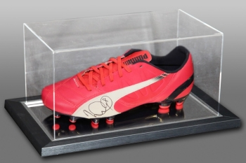 Ian Wright Signed Pink Puma Football Boot Presented In An Acrylic Case