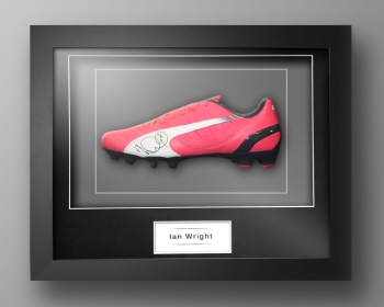 Ian Wright Signed Pink Puma Football Boot In Our Elegance Box Frame
