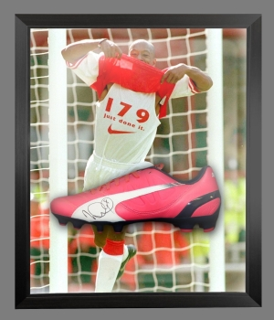 Ian Wright Signed Pink Puma Football Boot In An Acrylic Dome Presentation