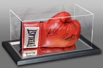 Nigel Benn & Steve Collins Dual Signed Red Boxing Glove In An Acrylic Case