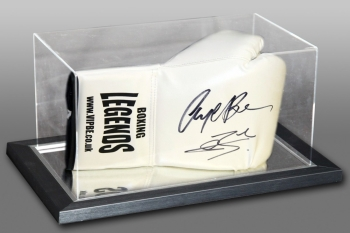 New Nigel Benn & Conor Benn Dual Signed White Boxing Glove In An Acrylic Case
