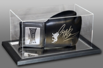 Nigel Benn Signed Black Lonsdale Boxing Glove In An Acrylic Case