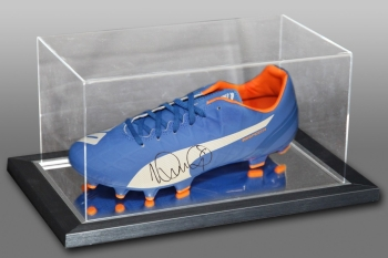 Ian Wright Signed Blue Puma Football Boot Presented In An Acrylic Case