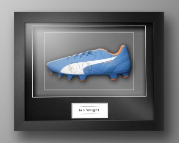 Ian Wright Signed Blue Puma Football Boot In Our Elegance Box Frame