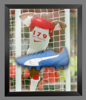 Ian Wright Signed Blue Puma Football Boot In An Acrylic Dome Presentation