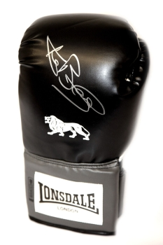 Ken Buchanan  Hand Signed Portrait Black Boxing Glove