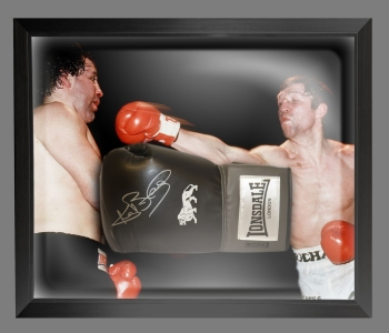 Ken Buchanan Signed Black Landscape Boxing Glove Presented In A Dome Frame