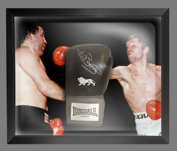 Ken Buchanan Signed Black Portrait Boxing Glove Presented In A Dome Frame