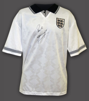 Paul Gascoigne Hand Signed England 1990  Replica Football Shirt