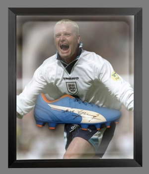 "Paul "" Gazza"" Gascoigne Signed Blue Puma Football Boot in an Acrylic Dome"