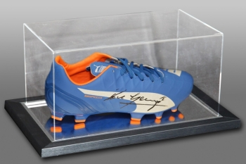 Paul Gascoigne Signed Blue Puma Football Boot Presented In An Acrylic Case