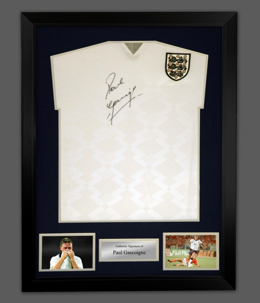 New* Paul Gascoigne Signed England 1990 Football Shirt In A Framed ...