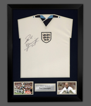 Paul Gascoigne Signed England 1996 Football Shirt In A Framed Presentation