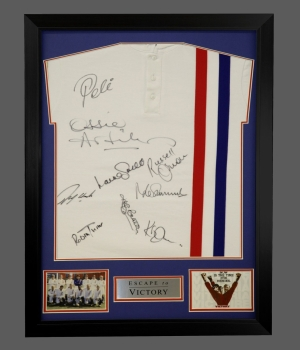 *RARE* Escape To Victory Football Shirt Signed By 9 In A Frame. Signed By Pele