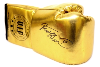 *Rare* Frank Bruno Hand Signed Lanscape Gold Vip Boxing Glove