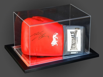 Ricky Burns Signed Red Boxing Glove Presented  In An Acrylic Case