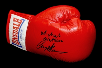 Michael Watson And Nigel Benn Dual Signed Lonsdale Autograph Boxing Glove.