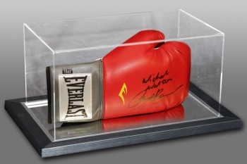 New Michael Watson And Nigel Benn Dual Signed Boxing Glove In An Acrylic Case :A
