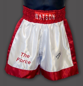 Michael Watson Hand Signed Custom Made Boxing Trunks : B