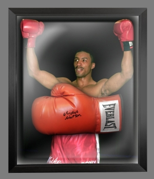 Michael Watson Hand Signed Red Everlast Boxing Glove In A Dome Frame