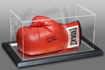 Michael Watson Signed Red Everlast Boxing Glove In An Acrylic Case