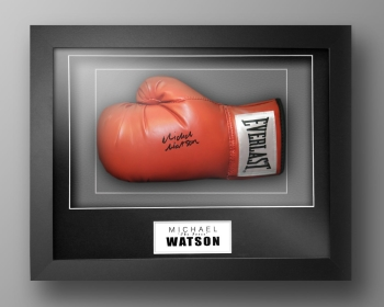 Michael Watson Signed Red Watson Boxing Glove In Our Elegance Box Frame