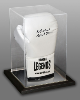 Michael Watson Signed White Boxing Legends Glove In An Acrylic Case