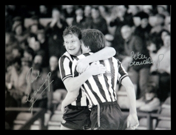 Paul Gascoigne  And Peter Beardsley Dual Signed 12x16 Football Photograph