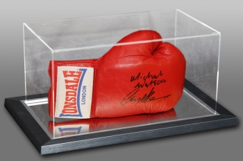 New Michael Watson And Nigel Benn Dual Signed Boxing Glove In An Acrylic Case :B