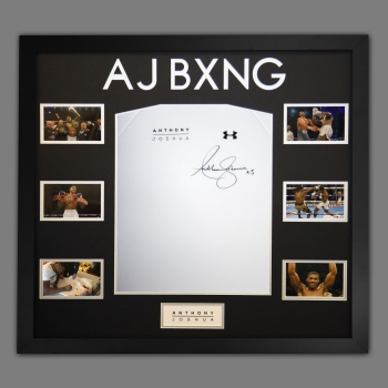 Anthony Joshua Hand Signed Official AJ Bxng T-Shirt In A Frame. H