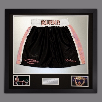 Ricky Burns Hand Signed Replica Boxing Trunks Presented In A Frame