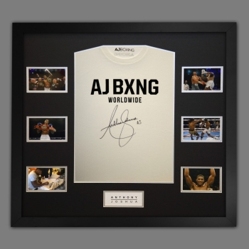 Anthony Joshua Hand Signed Official AJ Bxng T-Shirt In A Frame. G