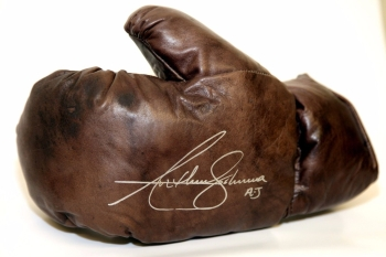 New* Anthony Joshua Hand Signed Retro Vintage Leather Boxing Glove. Inscribed AJ