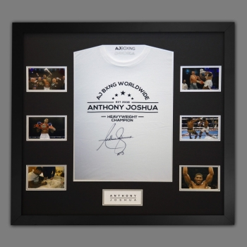 Anthony Joshua Hand Signed Official AJ Bxng T-Shirt In A Frame. F