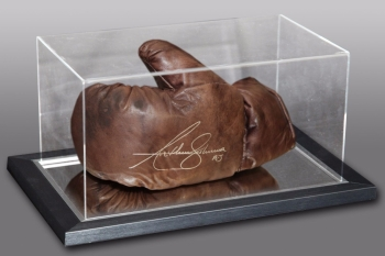 *New Anthony Joshua Signed Retro Vintage Leather Boxing Glove In An Acrylic Case