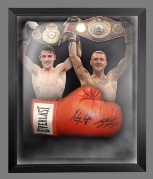 *New* Ricky Burns And Anthony Crolla Dual Signed Boxing Glove In A Dome Frame