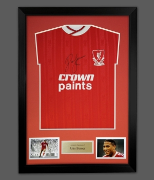 *New* John Barnes Signed Liverpool Football Shirt In A Frame Presentation