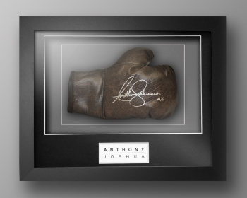 Anthony Joshua Signed Retro Vintage Boxing Glove In Our Elegence Box Frame