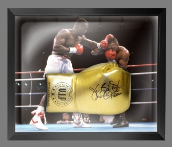 "James ""Buster Douglas"" Signed Gold VIP Boxing Glove In A Dome Frame : A"