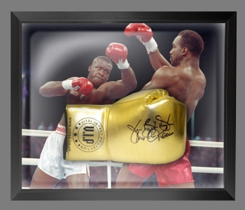 "James ""Buster Douglas"" Signed Gold VIP Boxing Glove In A Dome Frame : B"