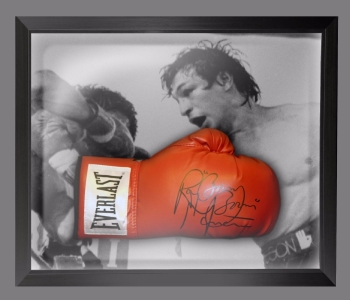 "Ray ""Boom Boom"" Mancini Signed Boxing Glove In A Dome Frame Presentation"
