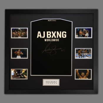 Anthony Joshua Hand Signed Official AJ Bxng T-Shirt In A Frame. C