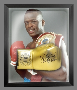 "James ""Buster Douglas"" Signed Gold VIP Boxing Glove In A Dome Frame : C"