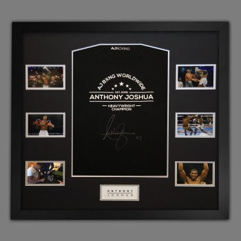 Anthony Joshua Hand Signed Official AJ Bxng T-Shirt In A Frame. A