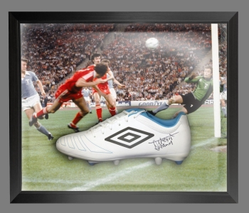 Trevor Francis Signed White Umbro Football Boot In A Acrylic Dome Frame: A